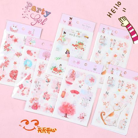 Cute paper girl heart hand tape sticker NHHE137307's discount tags