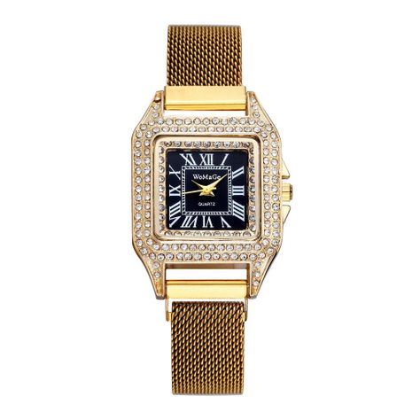 Gypsophila-studded square Roman scale quartz watch NHSY137337's discount tags