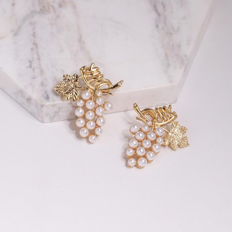 Simple grape alloy beads creative earrings NHJJ137795