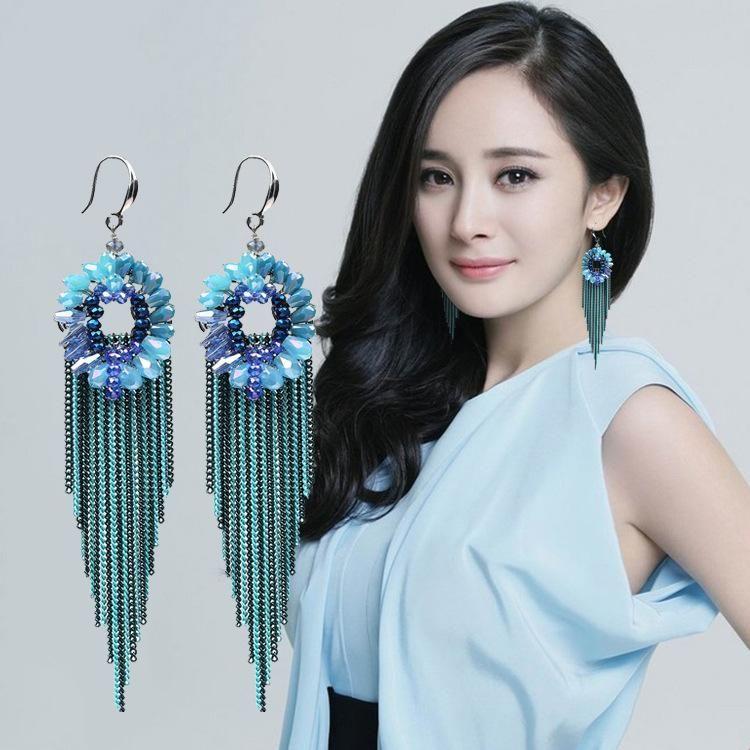 Fashion long tassel earrings NHJJ137854