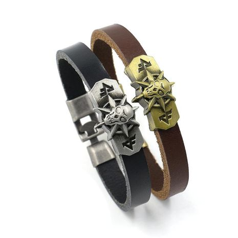 Anime top layer primary color leather bracelet NHHM137897's discount tags