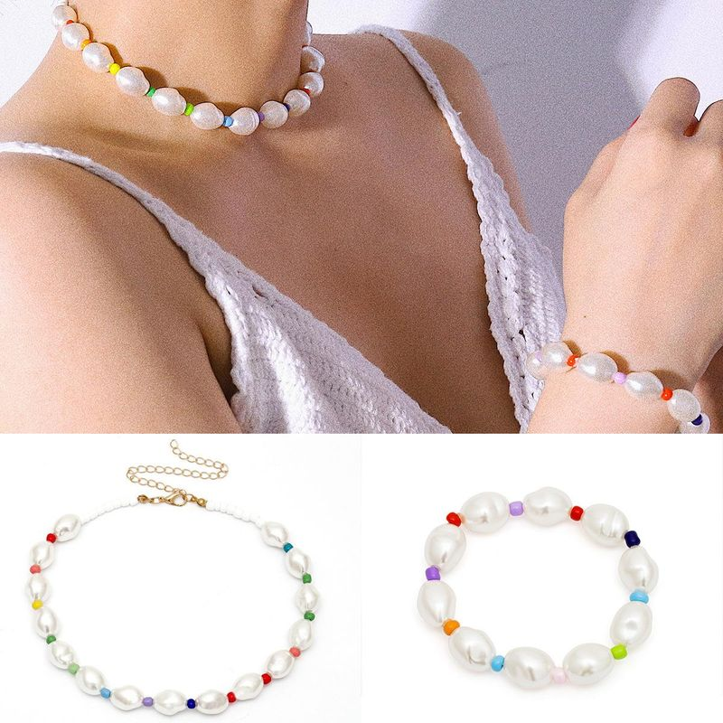 Womens Geometric Handmade Rice Beads Beads Necklaces NHXR137963