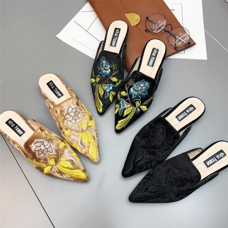 Fashion pointed toe women s flat mules multicolor NHHU138111
