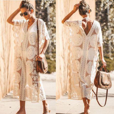 Blusa bordada de malla sexy playera protector solar bikini blusa NHXW130721's discount tags