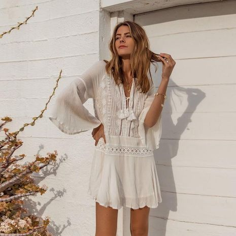 Blusa de bikini de encaje trompeta manga protector solar ropa NHXW130738's discount tags