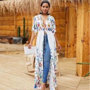 Positioning flower waistband loose bikini holiday dress blouse NHXW130744's discount tags