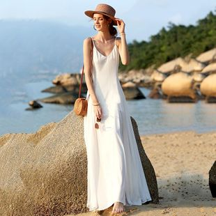 Explosion models solid color sling fairy fairy long dress NHDF130809's discount tags