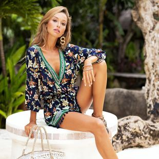 V-neck print cropped sleeves jumpsuit tassel shorts NHDF130816's discount tags