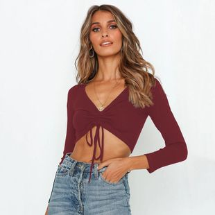 Sexy Halo Strap V-neck Long Sleeve T-Shirt NHDF130860's discount tags