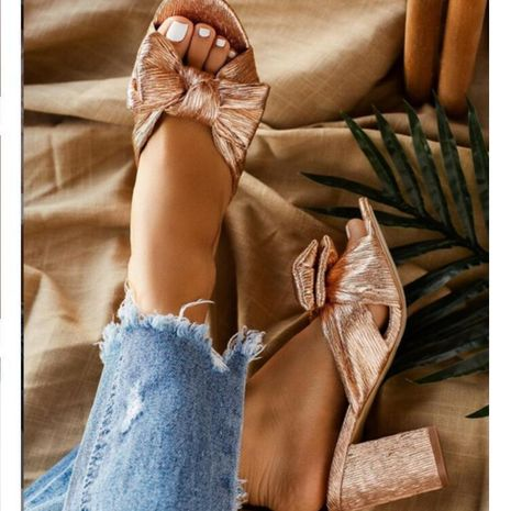 Sandalias doradas de tacón alto a la moda. NHSO130871's discount tags