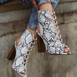 Large size thick high heel straps snake fish mouth cool boots NHSO130874's discount tags