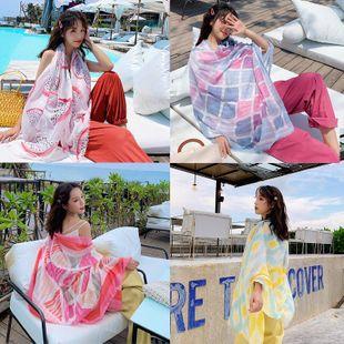 Larga protección solar toalla de playa mantón grande de algodón y lino bufanda NHTZ130889's discount tags