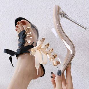 Fashion strap rivet Roman wind transparent stiletto sandals and slippers NHSO130918's discount tags