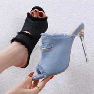 Cristal de mezclilla de moda con sandalias y zapatillas de tacón de aguja. NHSO130923's discount tags