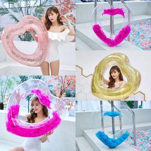 Explosion models full transparent swim ring sequins transparent swimming ring NHWW130946's discount tags