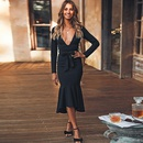 Fashion bag hip ruffle sexy solid color Vneck skirt NHDF130854