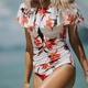 Printed lotus leaf swimsuit off-shoulder triangle one-piece swimsuit NHCC130857