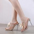 Correa de moda remache romano viento sandalias stiletto transparentes y zapatillas NHSO130918