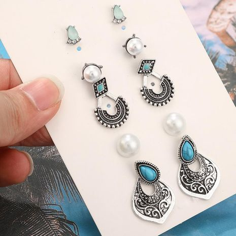 Fashion Vintage Rhinestone Beads Geometric Alloy Drops Turquoise 5 Pair Set NHGY138153's discount tags