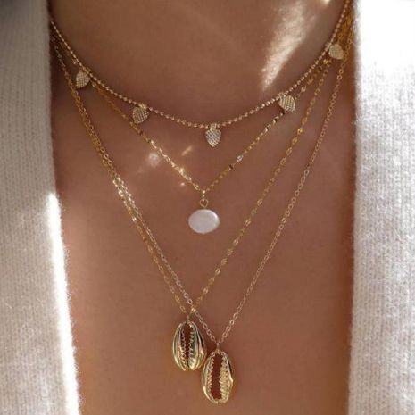 Fashion Drops Beads Shell Multilayer Alloy Necklace NHGY138172's discount tags