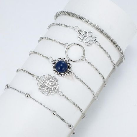 Fashion simple lotus lotus leaf round stone flower beads chain combination 6 piece bracelet NHGY138180's discount tags