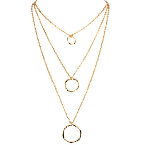 Wild personality irregular round metal necklace NHCT138194's discount tags