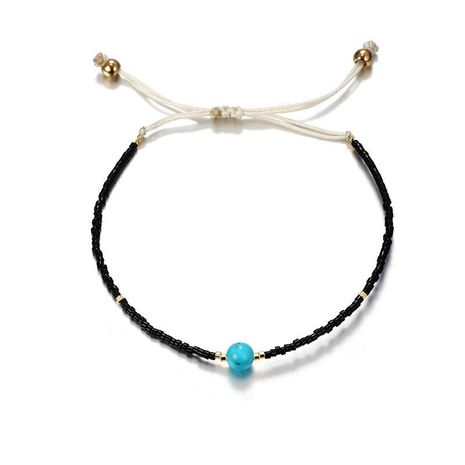 Fashion simple woven rice beads rope rope turquoise anklet bracelet NHGY138202's discount tags