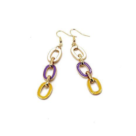 Boucles d'oreilles chaîne en contraste de couleur blanc violet jaune NHOM138204's discount tags