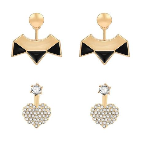 Simple black triangle cool heart-shaped full rhinestone earrings NHXS138208's discount tags