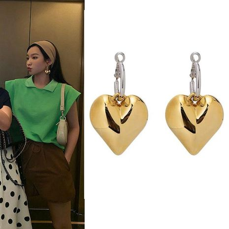 Fashion metal circle alloy and alloy double spell love earrings NHNT138212's discount tags