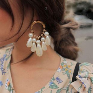 Fashion oval drop-shaped beads white earrings NHNT138220's discount tags