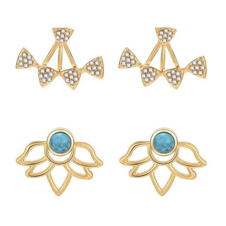 Vintage ethnic style openwork lotus flower turquoise front and rear earrings NHXS138222's discount tags