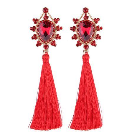 Long flower inlaid gemstone tassel earrings NHJQ138223's discount tags
