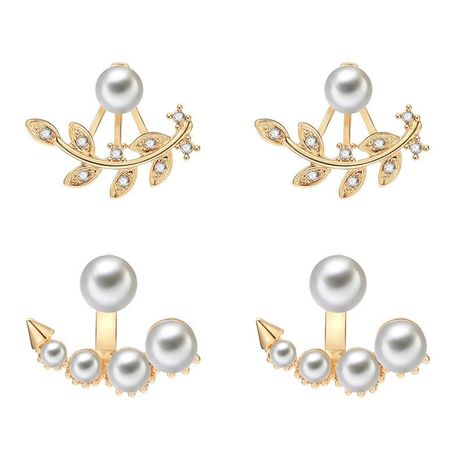 Fashion atmosphere leaf shape front and rear beads alloy earrings NHXS138230's discount tags
