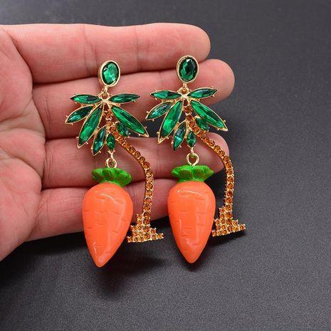 Fashion Acrylic Radish Coconut Tree Rhinestone Earrings NHNT138231's discount tags