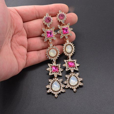 Long exaggerated imitated crystal tassel earrings NHNT138243's discount tags