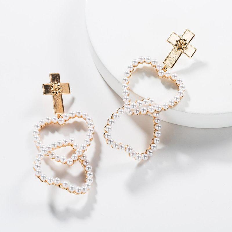 Cross multi-layer love heart-shaped beads alloy earrings NHJE138250