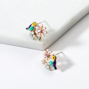 Fashion temperament drip flower bird earrings NHJE138254's discount tags