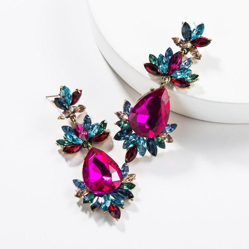 Drop-shaped multi-layer acrylic rhinestone flower earrings NHJE138258