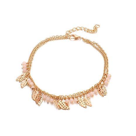 Perles de riz de mode alliage de feuilles creuses bracelet de cheville 2 couches NHGY138272's discount tags