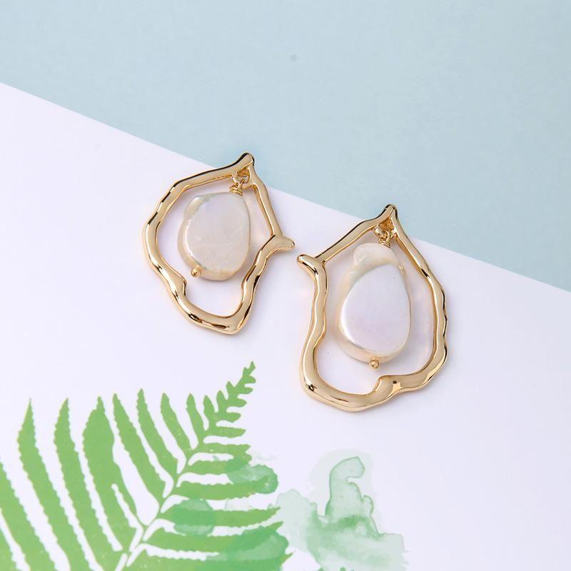 Womens Geometry Electroplating Alloy Earrings NHQD138294
