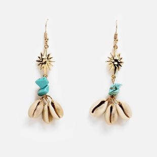 Creative Vintage Simple Turquoise Shell Earrings NHPJ138302's discount tags