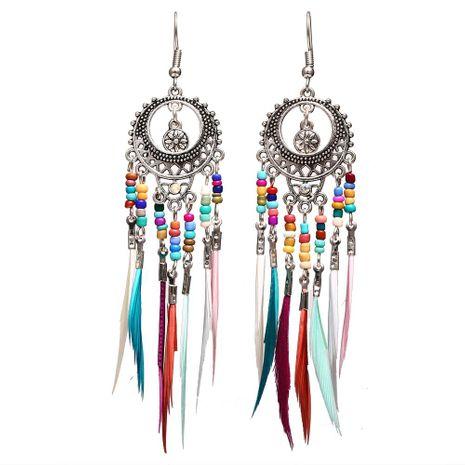 Boucles d'oreilles en plumes de riz coloré ajouré sculpté Vintage NHPJ138306's discount tags