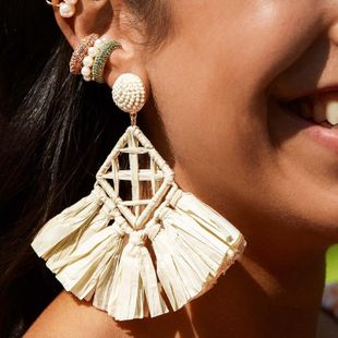 Ethnic style rhinestone-shaped hand-woven earrings NHJQ138316's discount tags