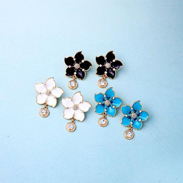 Korean version of the drop oil small flower rhinestone earrings NHQD138348
