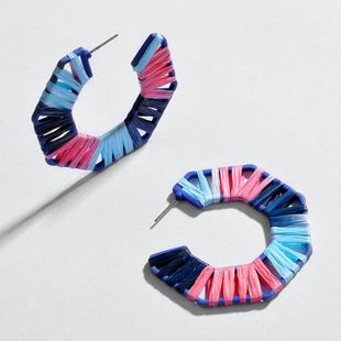 Hollow alloy segment dyed colored woven earrings NHLU138349's discount tags