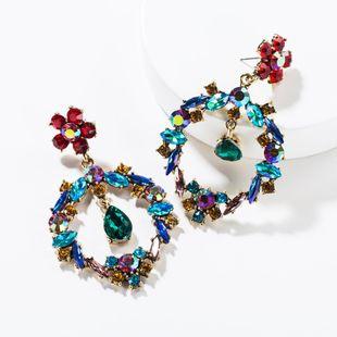 Fashion color rhinestone drop-shaped flower earrings NHJE138355's discount tags