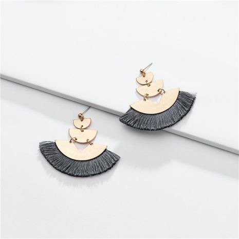 Fashion fan-shaped multi-layer cotton thread ear tassel alloy earrings NHLU138364's discount tags