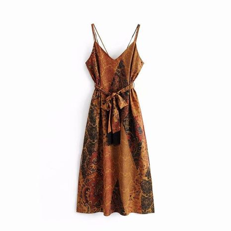 Printed underwear strap tassel dress NHAM138393's discount tags