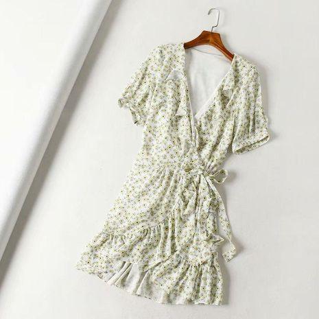 Floral ruffled wrap dress NHAM138430's discount tags